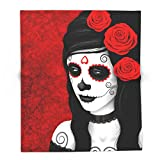 Society6 Day Of The Dead Sugar Skull Girl With Red Roses 88'' x 104'' Blanket