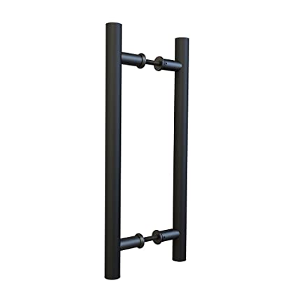 Charmant 15 3/4in Flat Black Sliding Barn Door Pull Handle Set Double Side Bar