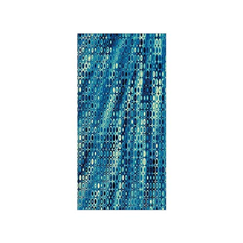 Flat Rhinestone Pull - 3D Decorative Film Privacy Window Film No Glue,Fractal,Vintage Mosaic Style Little Geometric Circles on Flat Background with Artwork,Petrol Blue,for Home&Office