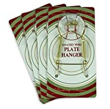 Banberry Designs Brass Vinyl Coated Plate Hanger 3 to 5 Inch Plate Hanger Set of 4 hangers - Includes Hanging Hook and Nail