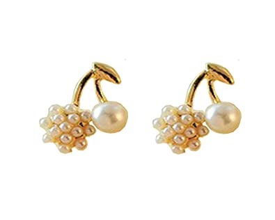 Buy Glitz Pearl Roundball Cherry White Gold Pearl Stud Earrings For Women  Online at Low Prices in India | Amazon Jewellery Store - Amazon.in