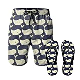 Men's Summer Surf Shorts Dolphins Running Shorts Quick-drying Loose Board Shorts Beach shorts Trunks Size XL with flip-flops L
