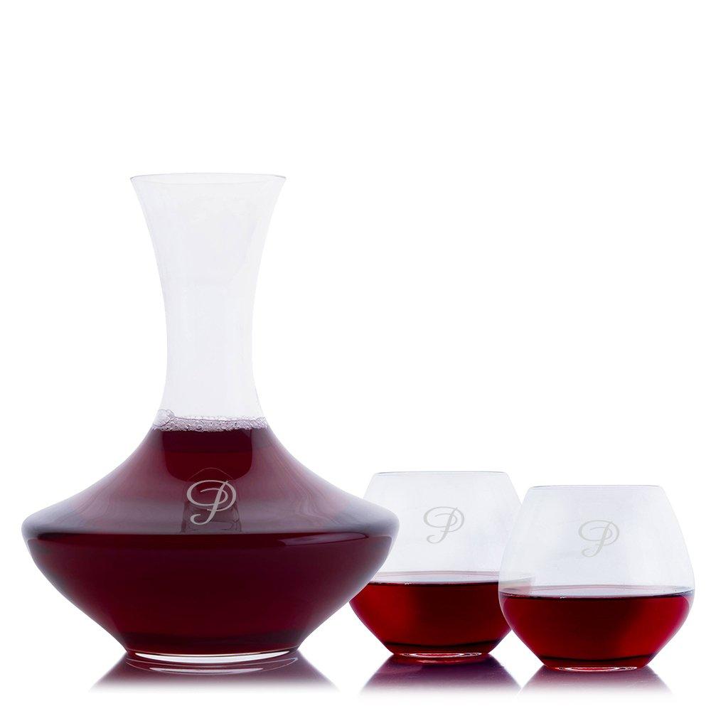Custom Crystal Wonder Wine Decanter 3pc. Stemless Set By Crystalize Engraved & Monogrammed (Custom 3 Piece Stemless Set)