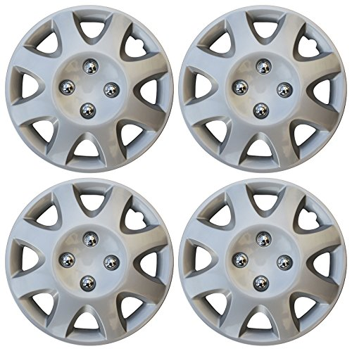 "4 Piece 14"" Inch Hub Cap Silver Skin Rim for Steel Wheel Covers Caps"