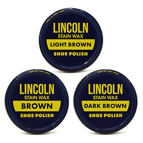 Lincoln Stain Wax Shoe Polish Variety Pack of Browns (Light Brown, Brown, Dark Brown)