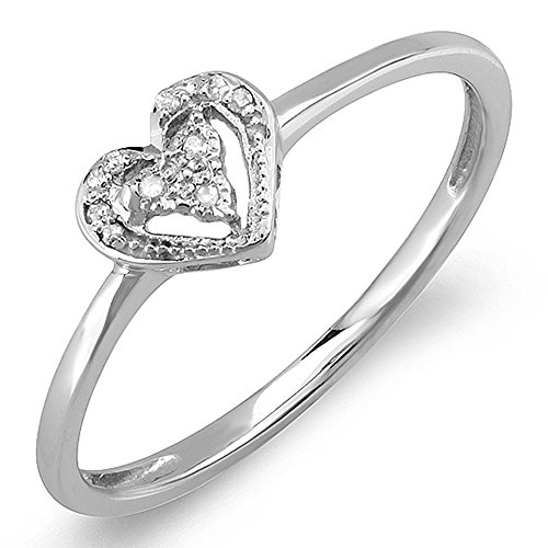 (Dazzlingrock Collection 0.06 Carat (ctw) Sterling Silver Round Cut Real Diamond Heart Shaped Promise Ring, Size)