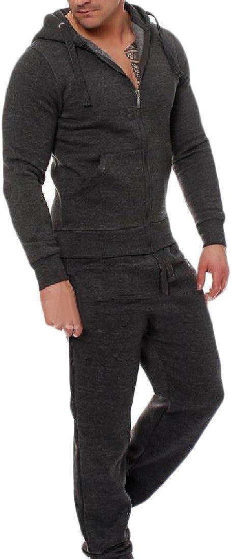 CrazyDay Mens 2Pcs Zip Drawstring Pure Color Hood Sportswear Tracksuit