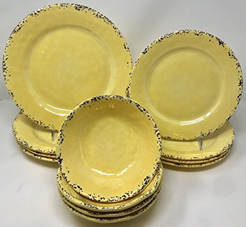 12-Piece Il Mulino Sunny Yellow Melamine Dinner Plates, Salad Plates and All Purpose Bowls Dinnerware Set (Service for four)