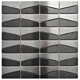 Modern Trapezoid Stainless Steel and Black Mix Tile
