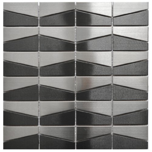 Modern Trapezoid Stainless Steel and Black Mix Metal Tile - Kitchen Backsplash/Bathroom Wall/Home Decor/Fireplace Surround