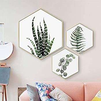 Canvas Wall Art Succulent Wall Decor 3 Pieces Tropical Palm Green Leaves Paintings Simple Wall Picture Set for Giclee Prints Canvas Art for Wall Decor