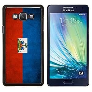 KLONGSHOP // Cubierta de piel con cierre a presión Shell trasero duro de goma Protección Caso - Nacional bandera de la nación País Haití - Samsung Galaxy A7 A7000 //
