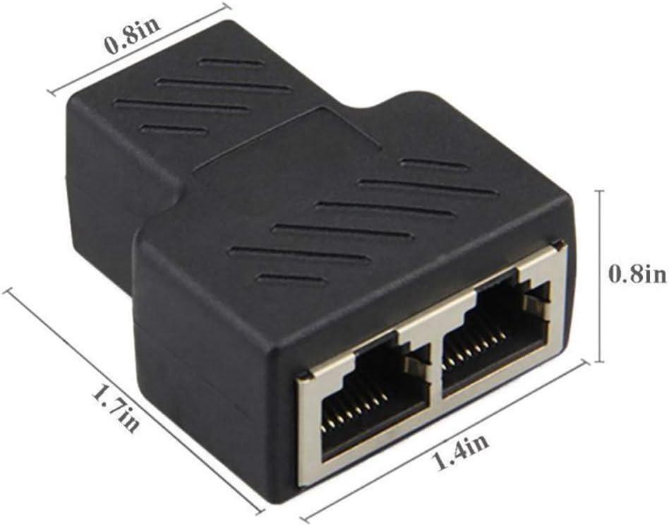 5Pcs 1 to 2 LAN Ethernet Network Cable RJ45 Female Splitter Connector Adapter hudiemm0B RJ45 Splitter