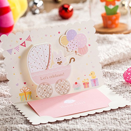 100X WISHMADE 3D Pink Baby Shower Invitation Card with Bear and Cartoon Car Design, Blank Printable Birthday Dinner Party Invites Kits for Little Girl with Envelopes CW5301 by WISHMADE (Image #1)