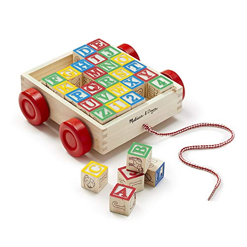 Melissa & Doug Classic ABC Wooden Block Cart Educational Toy With 30 Solid Wood...