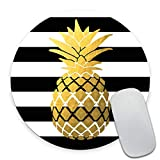 Smooffly Gold Foil Pineapple Round Mouse Pad, Black and White Stripes Circular Mouse Pads Personalized Mouse Pad