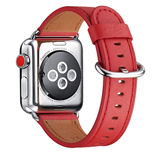 WFEAGL Compatible with iWatch Band 38mm 40mm 42mm 44mm, Top Grain Leather Band for iWatch Series 4/3/2/1,Sport, Edition (Red Band+Silver Adapter, 38mm 40mm)