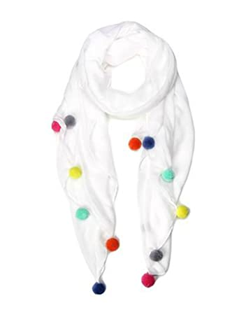 1a5fc86d8d02 Marcus Adler Pom Pom White Scarves at Amazon Women s Clothing store