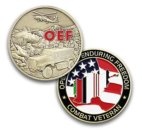 OEF Operation Enduring Freedom Challenge Coin - Military Coin Designed by Military Veterans - Great 3D detail Die Struck Brass Coin ()
