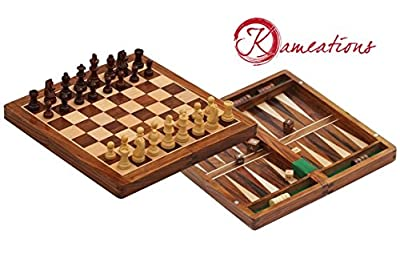 Kameations Handmade Wooden Rosewood Foldable Magnetic Chess Game Board with Storage Slots, Backgammon