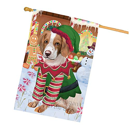 Spaniel Gingerbread - Doggie of the Day Christmas Gingerbread House Candyfest Brittany Spaniel Dog House Flag FLG56900