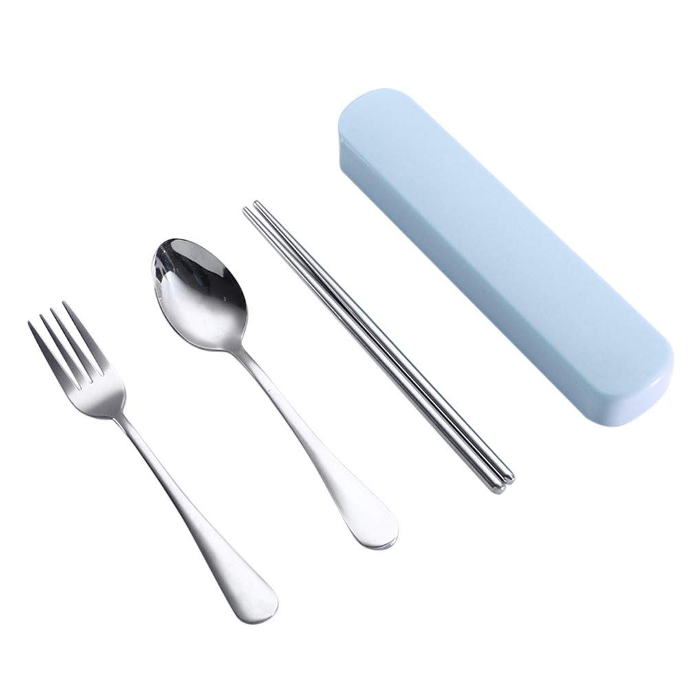 lotus.flower Portable Flatware Set Travel/Camping/Daily Cutlery Set with Travel Box 3 Piece Stainless Steel (Chopsticks, Fork, Spoon),Portable Travel Silverware Set (Blue)