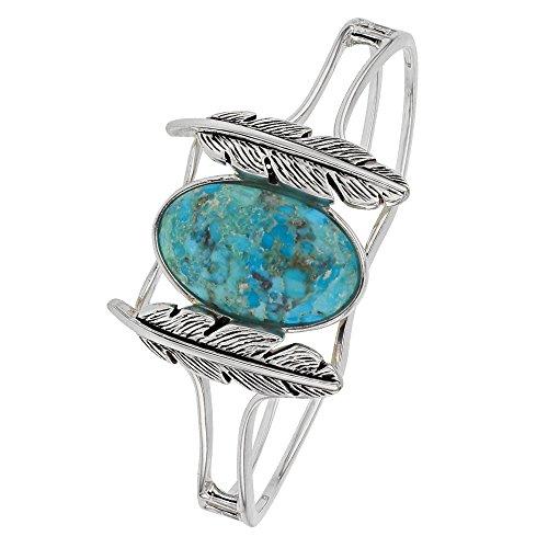 Jouailla - Bracelet plumes argent 925/1000 et turquoise