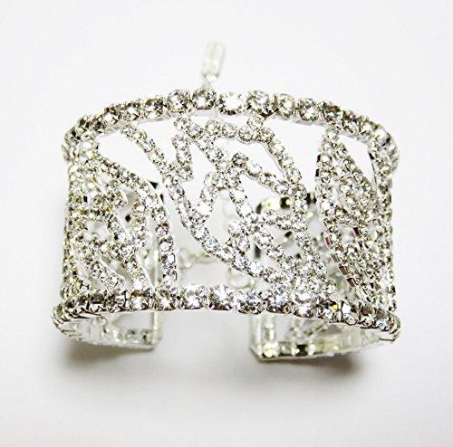 Bling Leaf Design Rhinestone Crystal Cuff Bracelet Jewelry Bridal Formal