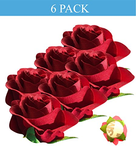Peel and Stick Flat Back Roses for Grad Cap Decoration - Assorted Colors - Flowers, Floral Stickers, Adhesive Backed Roses (Red)