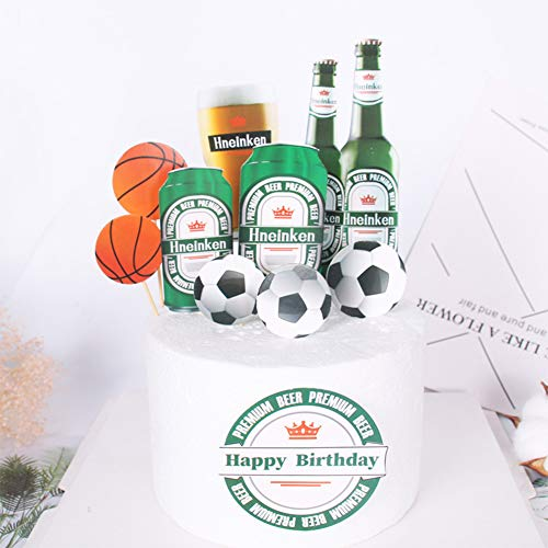 XuBa Summer Cool Beer Bottle Cake Card Cake Decoration Green Beer Bottle