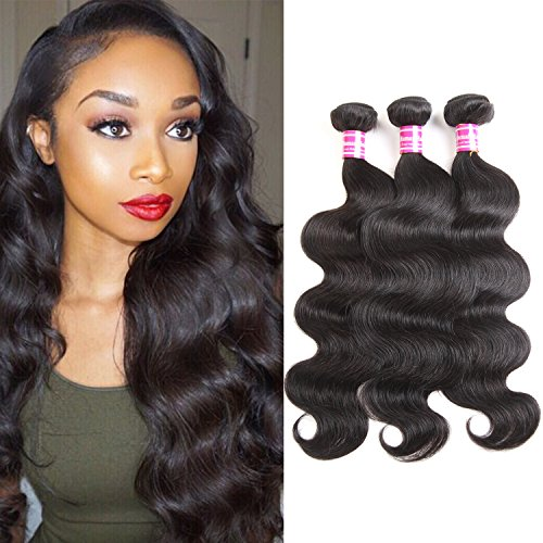 """Brazilian Hair Bundles With Closure Body Wave (18 20 22 +16"""" Middle Part) 100% Unprocessed Human Hair Extension Bundles With Lace Closure from Glary"""