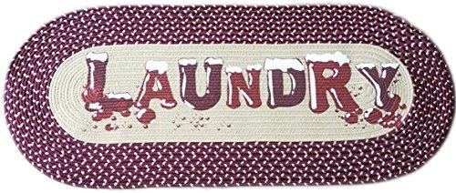 Homecricket - Burgundy Vintage Laundry Room Decorative Braided Area Runner - Rug - Floor Mat - (Laundry Room Decor- Laundry Room Ideas Designs)