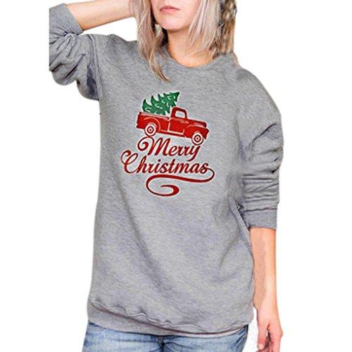 HOT SALE, AIMTOPPY Merry Christmas Fashion Womens Letter Car Print Sweatshirt Long Sleeve Blouse (Gray, XL)
