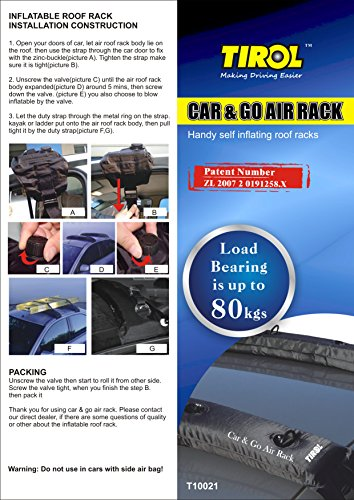 TIROL Auto Air Inflatable Roof Rack Cargo Carrier Top Roof Rack Pads for Kayak Luggage Carrier Paddleboard Holder with Patent