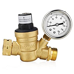 Renator M11-0660R Water Pressure Regulator. Brass Lead-free Adjustable Water Pressure Regulator with Gauge for RV, and Inlet Screened Filter by Renator