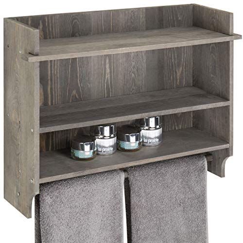 Bath Country Bar - MyGift Wall-Mounted Gray Wood 3-Tier Bathroom Organizer Shelf with Towel Bar