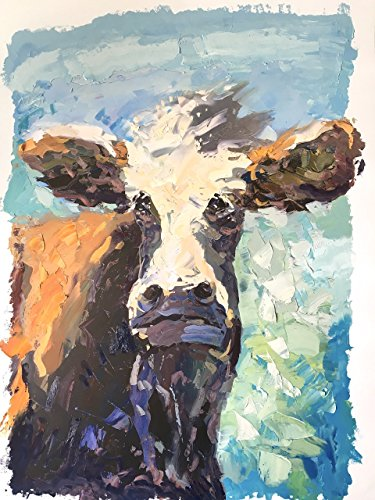 Folk Art Wholesale - Agostino Veroni - Cow Art Oil Paper Mixed Media Face Brown Animal Folk Colorful Portrait Large Original Country Farmhouse Handmade Wall Art Home Decor Wall Rustic Gifts for Him Christmas Present