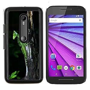 YiPhone /// Prima de resorte delgada de la cubierta del caso de Shell Armor - Lindo Naturaleza Tronco Verde Lagarto Camaleón - Motorola MOTO G3 / Moto G (3nd Generation)