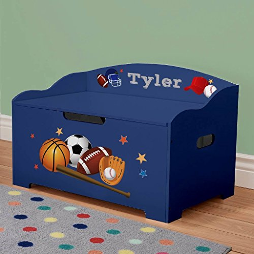 Big Box Toy - DIBSIES Personalization Station Modern Expressions Toy Box (Blue with Sports Theme)