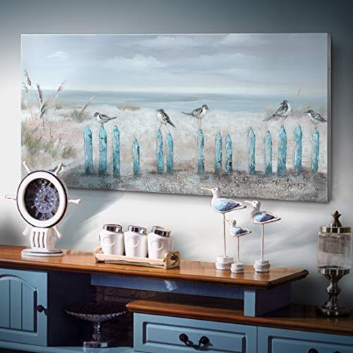 Ejart Large Ocean Beach Wall Art 3D Framed Hand-Painted Seascape Oil Painting Perching Bird Canvas Artwork 'The Tranquility by The Sea Shore' for Living Room Bedroom Décor Coastal Blue 48x24inch (Bird Wall Shore Art)
