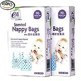 Easy-Tie Diaper Sacks Dispenser Antibacterial Scented Baby Diaper Disposable Bags for Travel Pack (Blue,450pcs(5 set))
