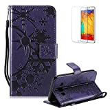 Funyye Strap Leather Cover for Samsung Galaxy J5 2016,Purple Creative Pattern Design Magnetic Flip Folio Soft Silicone PU Leather Protective Case for Samsung Galaxy J510,Stylish Multi functional Folder Wallet with Stand Credit Card Holder Slots Cover for Samsung Galaxy J5 2016/J510 + 1 x Free Screen Protector