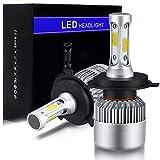 H4 9003 HB2 LED Headlight Bulbs Conversion Kit, SZFLWA S2 Series COB High Low Beam Headlamp, Dual Beam Head Light, Halogen Head Light Replacement, 6500K Xenon White, 1 Pair, 1 Year Warranty