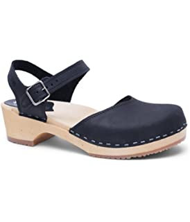 ef51f47b3a9 Sandgrens Swedish Wooden Low Heel Clog Sandals for Women | Saragasso