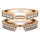 TwoBirch 3/4 ct. Cubic Zirconia Channel Set Cathedral Style Ring Guard in Rose Gold Plated Sterling Silver (0.7 ct. twt.)
