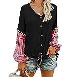 Imily Bela Womens Waffle Knit Tunic Blouse Tie Knot Henley Tops Bat Wing Plain Shirts (Small, Z-Black)