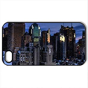 amazing manhattan cityscape - Case Cover for iPhone 4 and 4s (Skyscrapers Series, Watercolor style, Black)