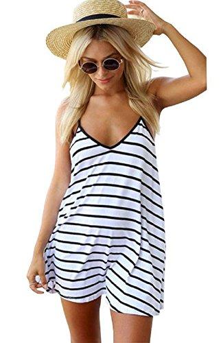 (Moxeay Sexy Women Black and White Stripes Spaghetti Strap Long Tops (US 6, White))