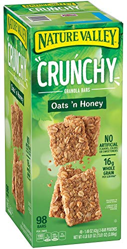 Nature Valley Crunchy Granola Bars Oats 'N Honey - 98 bars of 2 Bar Pouches of 49ct-1.49oz - Honey Granola Bar