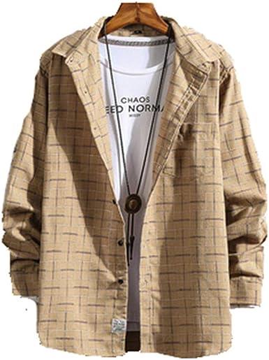 Camisa a Cuadros de los Hombres Streetwear Camisas Flojas Ocasionales de los Hombres Camisa de Ropa de Manga Larga: Amazon.es: Ropa y accesorios